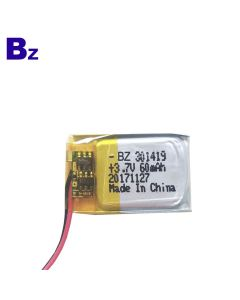 China Lithium Battery Supplier Customized Battery for Bluetooth Headphone BZ 301419 60mAh 3.7V LiPo Battery