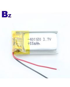Shenzhen Best Lithium Cells Manufacturer Customize Lipo Battery for Bluetooth Smart Bracelet BZ 401120 55mAh 3.7V Li-polymer Battery with KC Certificate