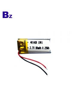 Chinese Best Lithium Battery Factory Customized Li-ion Battery for Fluorescent Lights BZ 401420 80mAh 3.7V Lipo Battery