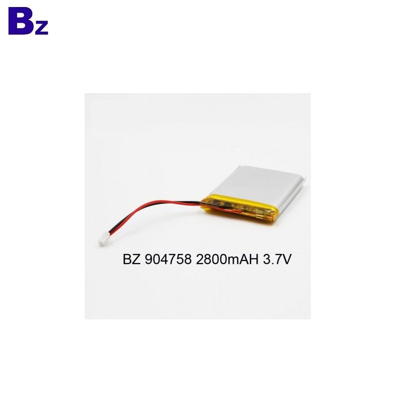 904758 3.7V 2800mAh Rechargeable LiPo Battery