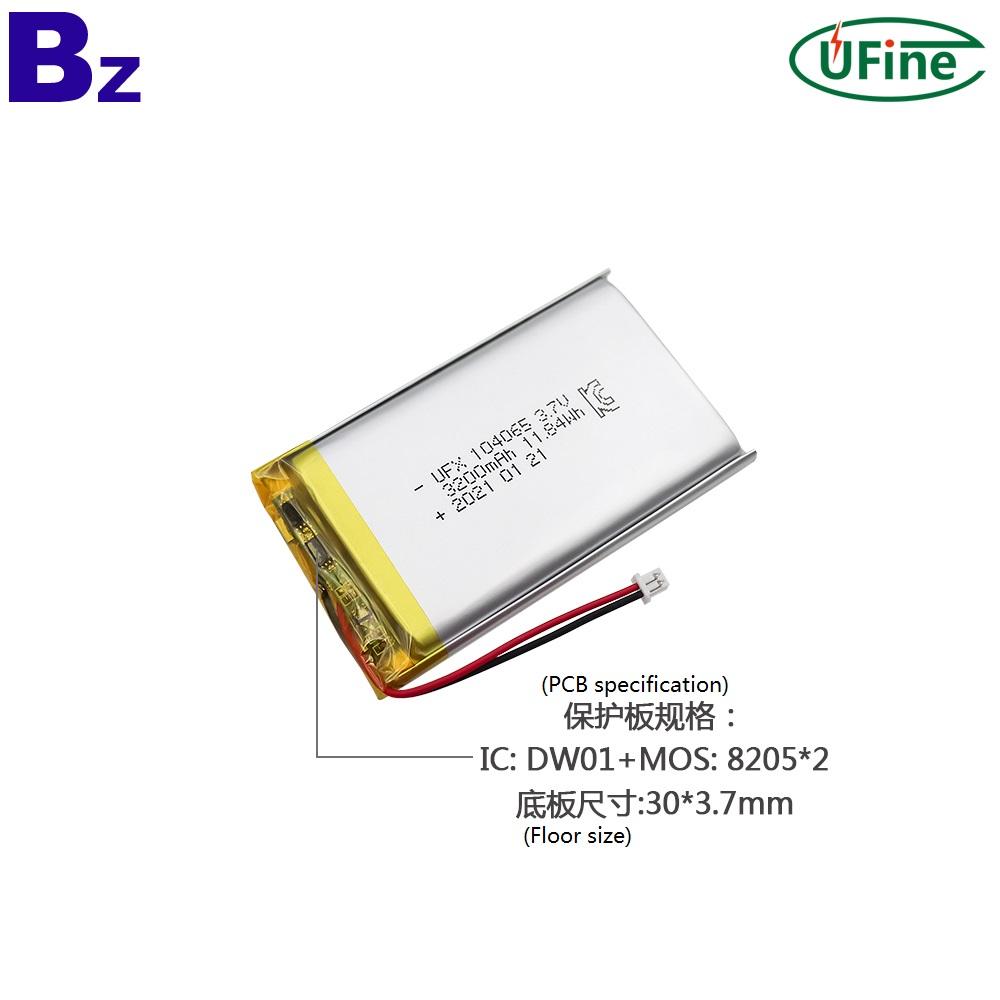 104065 3.7V 3200mAh Lithium Polymer Battery