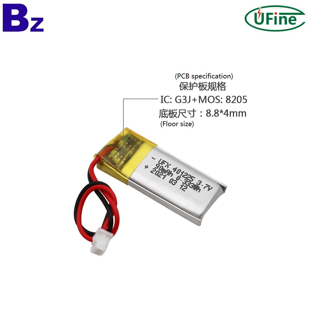 401225 3.7V 90mAh Lithium polymer Battery