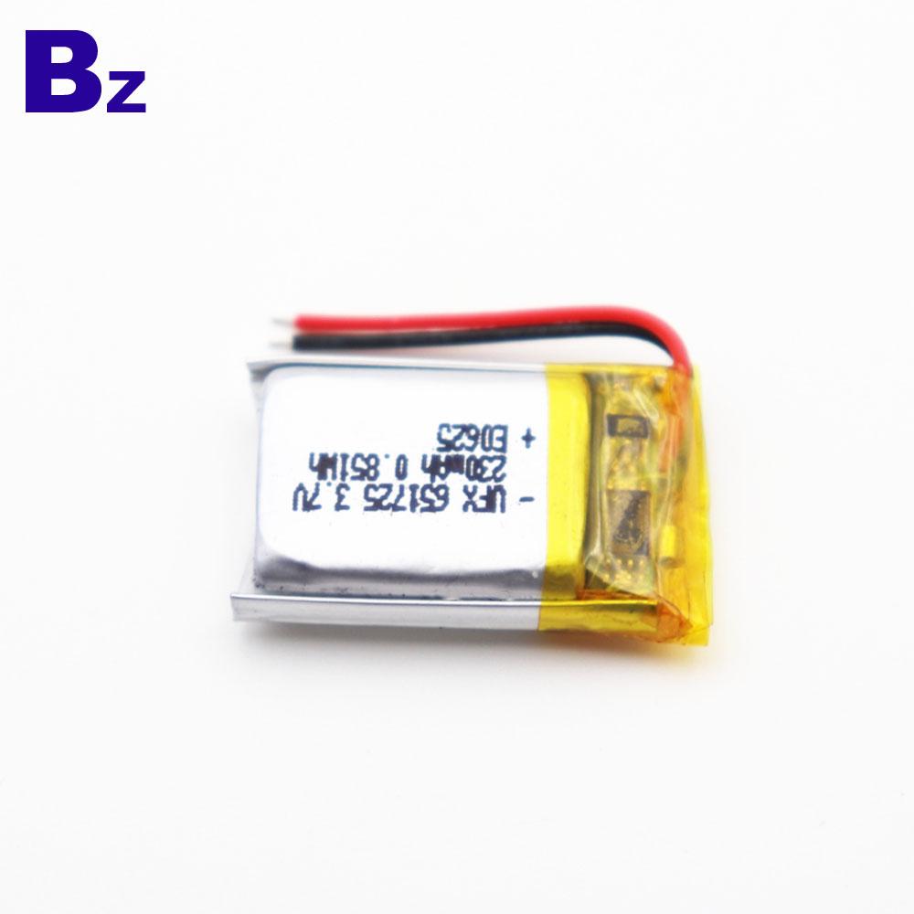 651725 230mAh 3.7V Lipo Battery